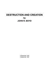 Destruction and Creation